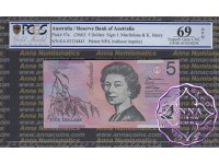 2002 $5 220aL Macfarlane/Henry PCGS 69 OPQ