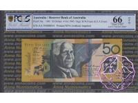 1995 $50 R516aF AA95 Black Opt Fraser/Evans PCGS 66 OPQ