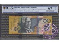 1995 $50 R516aF AA95 Black Opt Fraser/Evans PCGS 67 OPQ