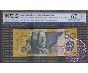 1998 $50 R518bF AA98 Macfarlane/Evans PCGS 67OPQ