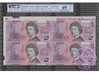 1996 $5 U14 Fraser/Evans Uncut of 4 Red X2 PCGS 68/69 OPQ inc EA