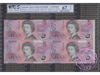 1996 $5 U15 Fraser/Evans Uncut of 4 PCGS 67 OPQ