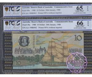 1988 AA$10 Johnston/Fraser Pair PCGS 65/66 OPQ