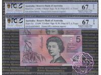 1996 $5 R218aF Macfarlane/Evans Pair PCGS 67 OPQ