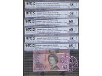 1998 $5 R218cF Macfarlane/EvansRun of 6 PCGS 68 OPQ