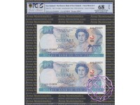 New Zealand 1990 D.T.Brash AAA$10 Uncut of 2 PCGS 68 OPQ