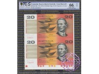 1994 $20 Fraser/Evans Red Uncut of 2 PCGS 66 OPQ
