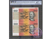 1994 $20 Fraser/Evans Red Uncut of 2 PCGS 67 OPQ