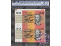 1994 $20 Fraser/Evans Red Uncut of Two X3 PCGS 67/8 OPQ