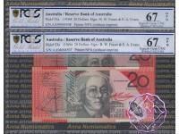1994 $20 AA94 Black Opt R416aF Fraser/Evans Pair PCGS 67 OPQ