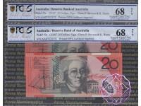 2007 $20 R421aF AA07 Stevens/Henry Pair PCGS 68 OPQ