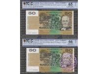1993 $50 R515 Fraser/Evans PCGS 65/66 OPQ No.1 & No.2