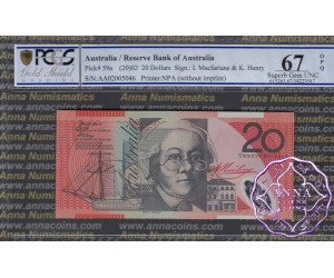 2002 $20 R420aF AA02 Macfarlane/Henry PCGS 67 OPQ