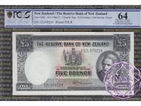 New Zealand 1960 R.N.Fleming Five Pounds P160d PCGS 64