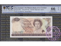 New Zealand 1981 H.R.Hardie AAA $1 P169a PCGS 66 OPQ
