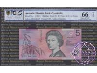 1995 $5 AA95 Fraser/Evans PCGS 66 OPQ