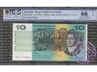 1991 $10 R313aL Fraser/Cole MRR PCGS 66 OPQ