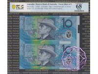 1997 $10 U22 Macfarlane/Evans Uncut of 2 Blue PCGS 68 OPQ