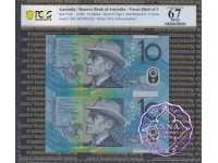 1997 $10 U21 Macfarlane/Evans Uncut of 2 Red PCGS 67 OPQ