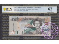East Caribbean 2000 Dominica Central Bank $100 PCGS 67 PPQ