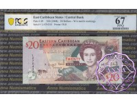 East Caribbean 2008 Dominica Central Bank $20 PCGS 67 PPQ