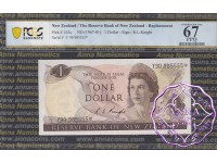 New Zealand 1975 R.L.Knight $1 Star Note Y90* PCGS 67 PPQ