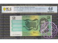 1985 $2 R89L Johnston/Fraser PCGS 64 OPQ