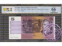 1985 $5 R209b Johnston/Fraser PCGS 66 OPQ