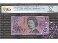 1996 $5 R218aF Macfarlane/Evans PCGS 67 OPQ