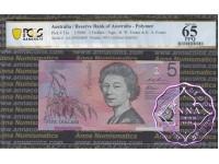 1995 $5 AA95 Fraser/Evans Black Opt PCGS 65 OPQ