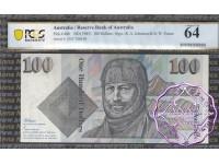 1985 $100 R609 Johnston/Fraser PCGS 64