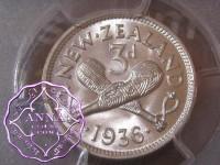 New Zealand 1936 Threepence PCGS MS66
