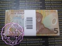 New Zealand 2005 Alan Esmond Bollard $5 Bundle of 100 UNC