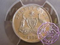Australia 1936 Threepence PCGS MS63