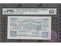 Mexico 1915 Estado De Chihuahua 50 Centavos PMG63 EPQ