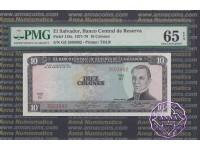 El Salvador 1971 Banco Central de Reserve de El Salvador 10 Colones PMG65 EPQ