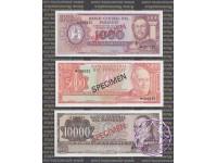 Paraguay 1972 Banco Central Del Paraguay 100; 500; 1000; 5000; and 10000 Guaranies Specimen Set