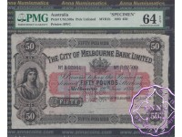 Australia 19.6.1893 City of Melbourne Bank Specimen Limited 50 Pounds PMG64