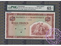 Martinique 1942 Specimen 1000 Francs PMG65