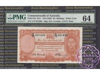 1949 R14 Ten Shillings Coombs/Watt PMG64