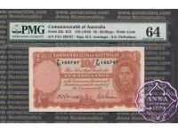 1942 R13 Ten Shillings Armitage/Mcfarlane PMG64
