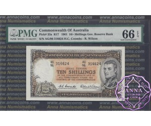 1961 R17 Ten Shillings Coombs/Wilson PMG66 (2)