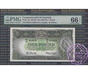 1961 R34a One Pound Coombs/Wilson PMG66