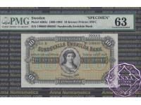Sweden 1899 Sundsvalls Enskilda Bank 10 Kronor Specimen PMG 63