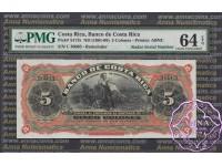 Costa Rica 1901 Banco De Costa Rica 5 Colones PMG 64 Radar# 36063