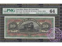 Costa Rica 1901 Banco De Costa Rica 10 Colones PMG 64 Radar# 23032