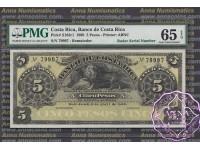 Costa Rica 1899 Banco De Costa Rica 5 Pesos PMG 65  Radar# 79997