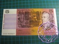 1990 $5 R212 Fraser/Higgins UNC