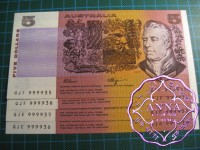 1990 $5 R212 Fraser/Higgins Pair X 2 UNC 999935 &36