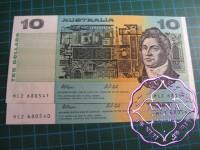 1991 $10 R313a Johnston/Stone aUNC pair